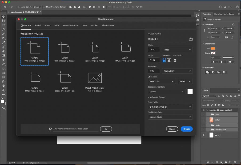 in the guide how to create an NFT when selecting new a modal window will appear with document templates and settings.