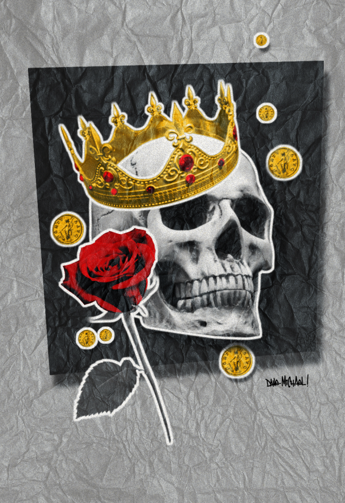 He Waited is a digital artwork of a skull wearing a crown with coins in the background and a red rose to symbolize love. The art is an NFT on the OpenSea exchange.