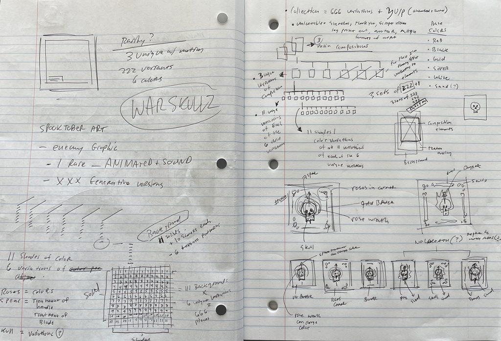 snapshot of sketchbook for nft collection